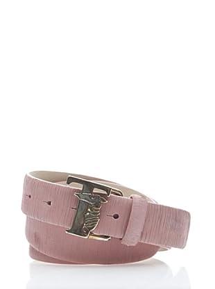 Trussardi Cinturón Grietas Y Logo (Rosa)