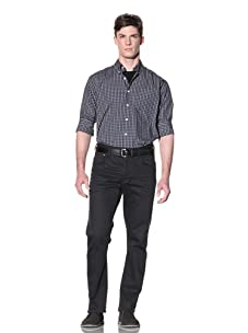 Nautica Men's Non-Iron Plaid Button-Down Shirt (Green)