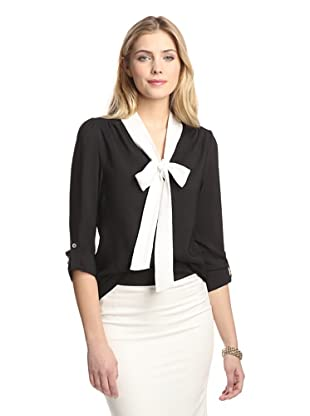 Tracy M Women's Neck Tie Top (Black/ivory)