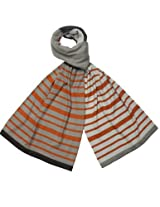 Playful Multi-Color Stripes and Solid Blocks Acrylic Long Scarf - Orange