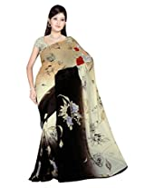 Sonal Trendz Beige & Black Color Printed Georgette Saree with Blouse