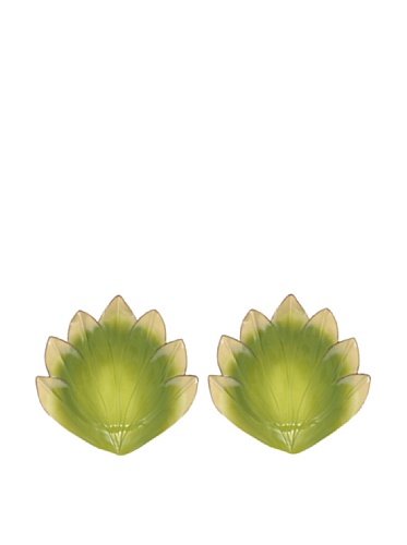 Mustardseed and Moonshine Set of 2 Gladiola Dinner Plates, Green