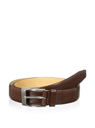 Trafalgar Men's Parallel Emboss Print Belt (Brown)