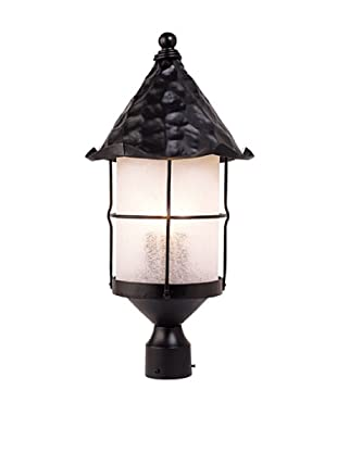 Landmark 389-BK Rustica 3-Light Outdoor Post Light 26-Inch, Matte Black with Scavo Glass