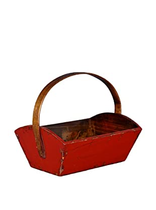 Antique Revival Wooden Fruit Bucket (Red)