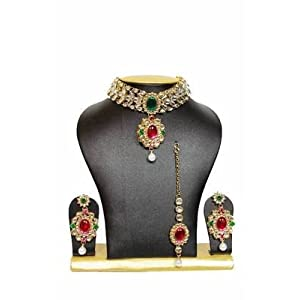 Necklace sets - Tranz Chocker Kundan Jewelry Set in Pink and Green with Pearls