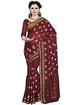 Aadarshini Women's Cotton Saree (110000000088, Maroon)