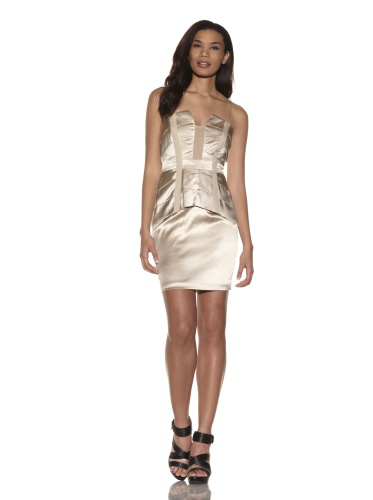 Foley + Corinna Women's 2-Piece Stretch Corset Top and Skirt Set (Champagne)