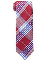 Tommy Hilfiger Men's Big Twill Plaid Tie, Red, One Size
