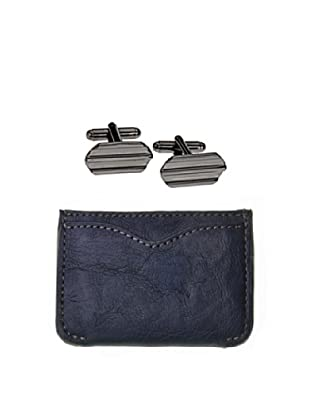 Men In Cities Navy Wallet & Black Cufflink Set