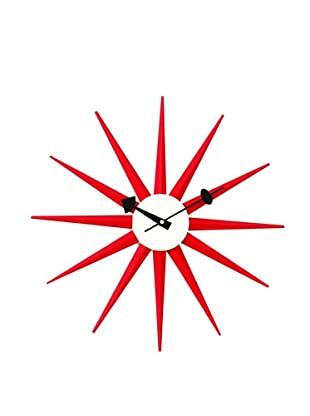 George Nelson Classic Wooden Sunburst Clock (Red)