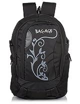 Bag-Age Flower Large School College Backpack (Black)