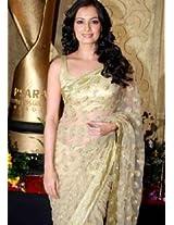 Ethnic Trend Chiffon Banaras Silk Party Bollywood Replica Saree - 176 (Light Golden)