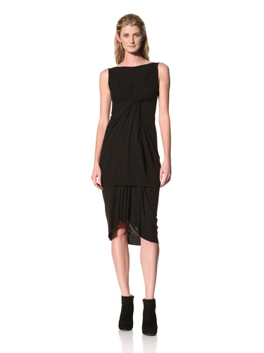 RICK OWENS Women's Sleeveless Boatneck Twist Drape Top (Black)