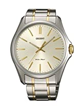Orient Sporty Quartz Men Cream Dial Silver & Gold Metal Strap Round Shape, Made in Japan