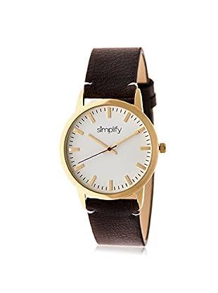 Simplify Women's SIM2805 The 2800 Dark Brown/White Leather Watch