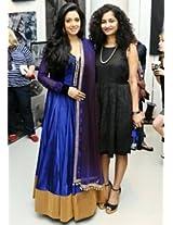Khantil Bollywood Celebrity In Blue Anarkali Sridevi Suit - BWA1831