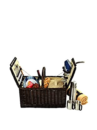 Picnic at Ascot Surrey Basket For 2 with Blanket & Coffee, Blue Chevron