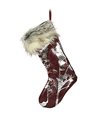 Aviva Stanoff Silver & Oxblood Stocking with Faux Fur Trim
