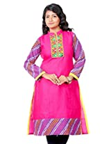 B3Fashion Cotton Pink Supernet kurti with Full Leheria Sleeves and Border with Gujrati Embroidery & Mirror Work Yoke with Cotton Lining