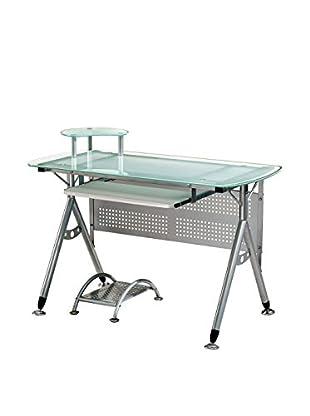 Techni Mobili Glass Computer Desk, Frosted