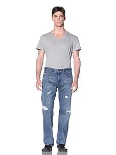 Current/Elliot Men's The Buckle Back Straight Leg Jean (Super Loved Destroyed)