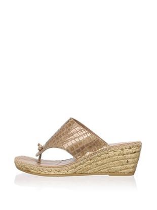 André Assous Women's Alyssa Mid Espadrille (Camel Leather/Croc)
