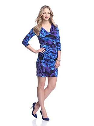 Muse Women's Printed Draped Dress (Purple/Mullti)