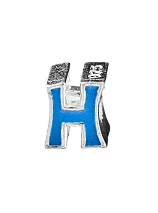 Angel Devil Abalorio de Plata de Ley 925 Letra H Azul