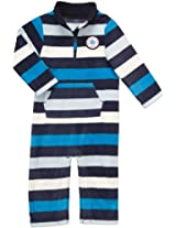 Carter's Infant Long Sleeve One Piece Fleece Coverall - Blue Stripes-9 Months