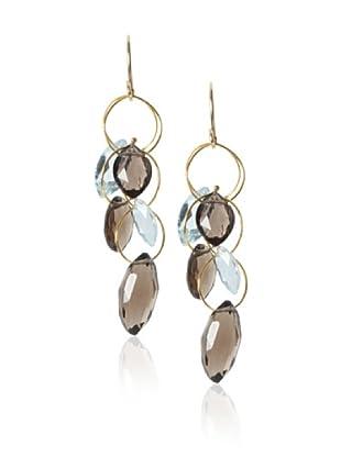 Misha Smokey Quartz & Blue Topaz Large Dangle Earrings