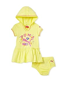 PUMA - Kids Baby Girl's Hooded Dress and Diaper Set (Light Lime)