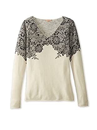 Kier & J Women's Lace V-Neck Sweater (Crème/Black Lace)