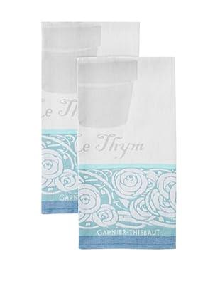 Garnier-Thiebaut Set of 2 Thym Kitchen Towels, Turquoise