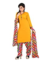 Kanheyas Crepe Patiyala Unstitched Dress Material with Chiffon Dupatta