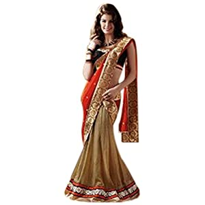 Shaded Orange, Red and Beige Faux Georgette Lehenga Style Saree with Blouse