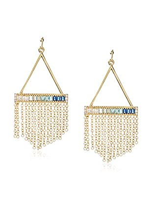 Kevia Earring with Wide Channel Set Ombre CZ Baguette Bar