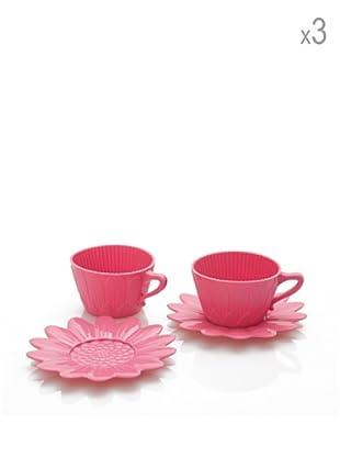 Pavoni Set 3 Tazas Y Platos Para Cupcakes Rosa