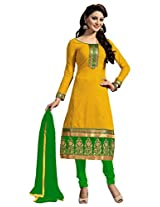 Shopper Box Women Yellow Chanderi Heavy Border Salwar Suit (SKU-SAI-555_Yellow)