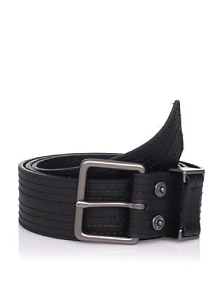 Calvin Klein Men's Topstitched Flat Belt (Black/Gunmetal)