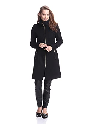 Elie Tahari Women's Loraina Coat with Stand Collar (Black)