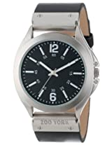 Zoo York Men's ZY1234 Street Wear Collection Round Case Hinged Strap Black Watch