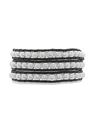 Lucie & Jade Echtleder-Armband Imitationsperlen schwarz/weiß