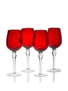 Rosanna Set of 4 Stemware Water Glasses (Red)