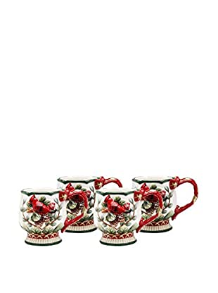 Cosmos Set of 4 Evergreen Holiday Cardinal 10-Oz. Mugs
