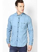 Light Blue Full Sleeve Solid Denim Shirt Phosphorus