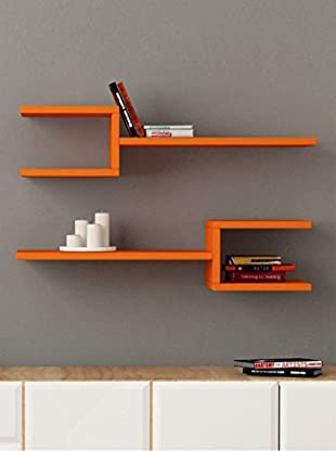 Decortie by Homemania Set 2 Estantes Fork (Naranja)