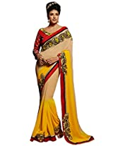 Inddus Women Yellow & Beige Ombre Shaded Georgette Embellished Saree