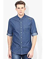 Blue Solid Slim Fit Casual Shirt Ed Hardy