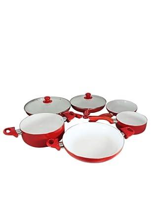 Santa Clara Batería De Cocina Cerámica Roja De 8 Piezas